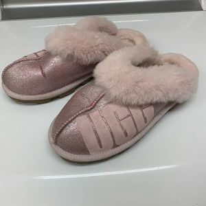 Ugg Coquette Glitter Logo Slippers Size 10 Pink